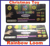 Big Kids Multicolor Rubber Rainbow loom rubber bands DIY loom kit Refill Twistz Band bracelet retail packaging(600loom+24S+1 hook) christmas gift 10PCS