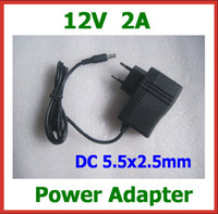 Cheap 2pcs AC 100V-240V Converter Adapter DC 12V 2A Power Adapter Charger Power Supply High Quality with Magnetic Ring DC 5.5x2.5mm