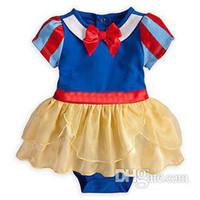 Girl Summer  Wholesale - 12280 baby Snow White romper girls short sleeve jumpsuits kids headband one-piece lovely garment children summer clothes ttgmy