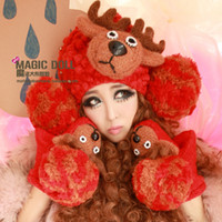 Wholesale Magic big head doll small elk antlers exclusive three dimensional fashion devil winter hat knitted wool ball wool