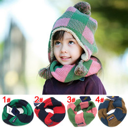 Wholesale Kids Stripe Collar Scarf Knitted shawl Girls Boys Hook warm scarf autumn winter Knitting Christmas