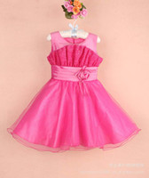 TuTu Summer Ball Gown New Years Christmas party dress girl Ruched flowers Sequins tulle tutu princess dress kid Strap vest Bridesmaid Dress Ball Gown EMS 2236-2