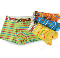 Wholesale Kids Underwear Boys Underpants Solid Horizontal Stripes Wide Waist Shorts Pants Colorful Cotton Boxer Briefs