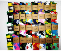 Foot Cover Men Cotton wholesale fedex free shipping Single huf socks stockings Hemp leaf boat socks towel tube long rib knitting sports sock 250 pair