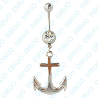 Navel & Bell Button Rings anchor belly ring - Big Anchor Dangle Ring Belly Ring Body Jewelry Body Piercing Jewelry
