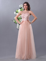 Wholesale Beautiful A line Nude Color Tulle Flower Jewel Neck Floor Length Women s Prom Dress dresses u5 eeM