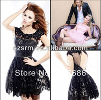 Wholesale Hot sexy keyhole back cap sleeve lace mini ball gown black junior cocktail dress