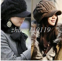 Wholesale christmas R2013 New Female Winter Knitted Crochet Hats Autumn Winter Handmade Twist knitting Visors brim Fashion hat Coffee Black Beige