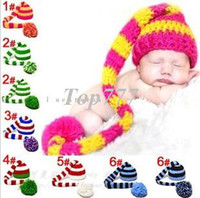 Unisex Winter Crochet Hats 2014 NEW! ELF Newborn Hat, Baby Pixie Elf Knitted Christmas Beanies,Handmade Crochet Photography Props Baby Hat Winter Free Ship S124