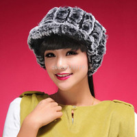 Wholesale christmas RReal Rex rabbit fur hat wool visor ski hat cap ball hat lady headgear gift