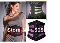 Breastforms&Enhancers Polyester Normal Hot Sale Lady Slimming Waist Cincher Shaper Sexy Striped Punk Corset Bustier Europe Body Shaper Lingerie White purple red MZ2234
