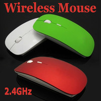 Wholesale Crystal box packing thin Slim USB GHz Wireless RF Optical Mouse Laptop Blue ray Mice Special MAC Computer XP WIN7