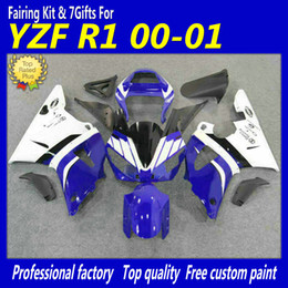 High quality body work fairing kit for YAMAHA 2000 YZF-R1 2001 YZFR1 new aftermarket black white blue fairings YZF R1 00 01+7gifts fd22