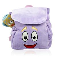 Wholesale Neverland Plush Purple Dora Backpack Waterproof Oxford Cloth Crystal Super Soft School Bags The Explorer Rescue Bag Halloween Christmas Gift