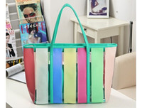 Women plastic tote - 7 colors New Plastic Rainbow Transparent Contrast Candy Color Beach Bag Handbag Tote JY21 EMS free