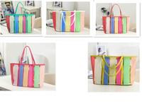 Wholesale 7 colors New Plastic Rainbow Transparent Contrast Candy Color Beach Bag Handbag Tote JY21 DHL free