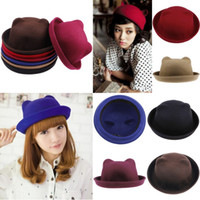 Wholesale Trendy Women Girl Cat Ear Wool Derby Hat Adorable Unique Decoration Winter Bowler Hat Cap Colors Choose DEH