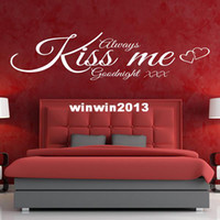 Wholesale ALWAYS KISS ME GOODNIGHT WALL ART QUOTE STICKER BEDROOM LOUNGE LOVE DECAL