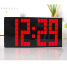 Big Font Led Clock Snooze Alarm Clock Calendar Temperature Saving Power Electronic Clock Square Decor Wall Clock Small Modern Clock