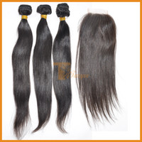 Brazilian Hair Straight 12 14 16 18 20 22 24 26 28 inches 5A Unprocessed Virgin Hair Bundles With Closure Brazilian Hair Weave Straight 3pcs Lot Remy Human Hair Extensions Cheap Hair Products