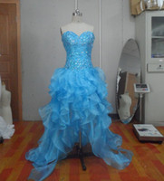 Wholesale Sexy Sweetheart Beading Blue Prom Dress Organza Hi lo Cocktail Dresses with Corset Back CUSTOM MADE