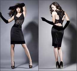 Wholesale Sexy Party Coctail Dresses - Sexy Black Deep V-Neck Sheath Evening Party Dresses With Lace Applique Beads Column Short Coctail Prom Gowns No Sleeve Exquiste