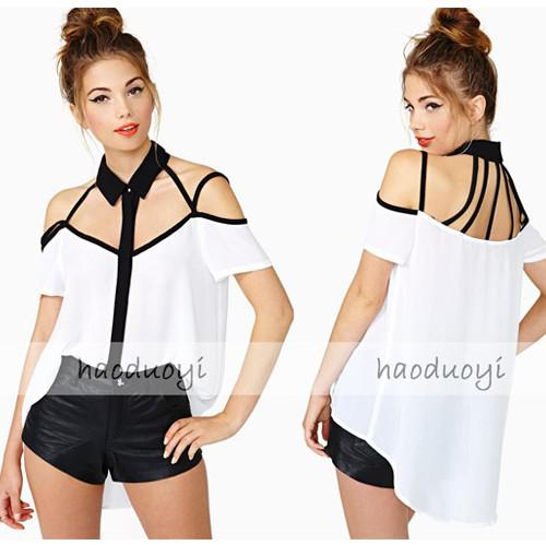 Sexy Off Shoulder Ladies Chiffon White Blouses Hollow Out Short ...