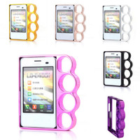 Wholesale Hot Selling Knuckle Case For LG L3 E400 Ring Mobile Phone Shell Finger Holes Case Cell Phone Cover Colors Choose IPL