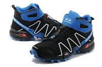 Climbing Flat Men 2014 Latest Outdoor Climbing Shoes Salomon SPEEDCROSS 3 High-top Hiking Boots Wear Non-slip Trail Running Shoes Size 40-45 Black