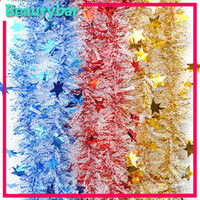 Wholesale New arrival CM CHRISTMAS GARLAND Tinsel Color Bar with Star Garlands Festivals Decoration
