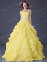 Wholesale Fashion Grace Karin Organza Ball Gown Strapless Wedding Gowns Prom Evening Dress CL3411