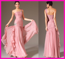 Wholesale Pink One Shoulder Crystal Pleated Chiffon Mermaid Long Prom Wedding Party Fitted Dresses E4967