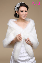 Wholesale 2014 Cheap Bridal Wraps White Sleeveless Fur Shawls Cross Warm Comfortable Fur Wedding Dresses Party Dress Wrap Bridal Accessories AG