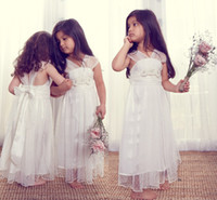Wholesale New Arrival Glitz Baby Cupcake Flower Girl Dresses Long Tulle V Neck Lace Appliques Princess Girls Pageant Infant Ball Gowns Dress