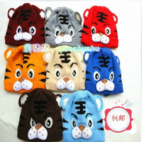 Unisex Winter Crochet Hats 100pcs lot free shipping 6 color Children's Knitted Warm baby tiger hat