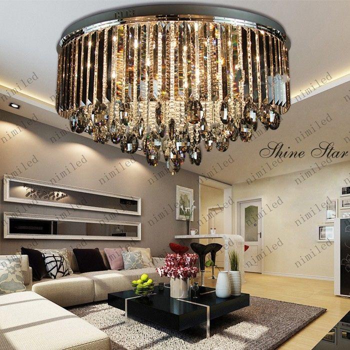 luxury living room grey crystal ceiling lights lamp fixtures lighting chandelier lly131 hanging
