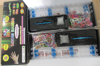 Wholesale Rainbow Loom DIY LOOM BANDS with bands S clips Hook shell box packaged Colorful rubber bracelets
