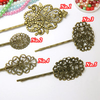 Unisex bobby pins with pad - Vintage Bobby Pin Hair Jewerly Antique Bronze Hairpins amp Hair Clips with Flower shaped Flat Pad for DIY Making