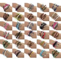 Wholesale 12pcs One Direction Anchor Infinity Antique Cross Love Peace Heart Music Mix Wish Leather Bracelet Charm Wristbands JB03110M