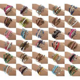 Wholesale 12pcs One Direction Anchor Infinity Antique Cross Love Peace Heart Music Mix Wish Leather Bracelet Charm Wristbands JB03110M