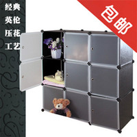 Wholesale Diy magicaf embossed storage bookcase baby wardrobe shoe storage cabinet black and white