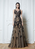 Wholesale 2014 Sexy zuhair murad Crew Neck Prom Dresses Lace Black Tulle Nude color Chiffon Floor Length Evening Dresses Celebrity Dresses