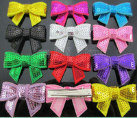 Hair Accessories stick pins - 50pcs HOT selling quot Embroideried sequin bows hair clip Girls hair accessories boutique bows hair pins hair ornaments HJ018 cm