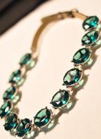 Wholesale Dark green gem diamond false collar necklace sweater necklace jewelry Photography props Graduated Jewelry