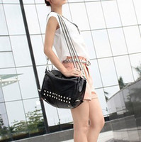 Wholesale 2012 high quality double zipper women s shoulder bag chain fashion rivet bag vintage bag
