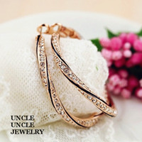 Wholesale 18K Rose Gold Plated Rhinestones Inlaid Classic Grace Round Circle Design cm Lady Hoop Earrings