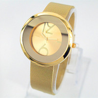 Cheap lady watches famous brand watches round dial fashion watch Stainless steel Mesh metal bracelet round dial fashion quartz Wristwatch