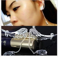 Wholesale Fashion angel wings earclip no pierced ear clip charms crystal earring gold plated ear cuff pair LM C147