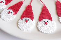 Wholesale Crochet Santa Claus Christmas decorations Hanging Christmas ornaments Santa Claus Christmas hats set of