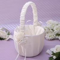 Wholesale Rice white satin cloth flower basket Flower Girl Baskets for Wedding Favors